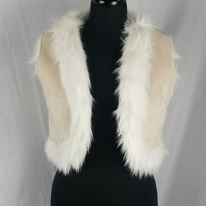 Zara Faux Suede and Fur Crop Embroidered Vest